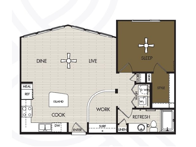 843 sq. ft. A3 floor plan