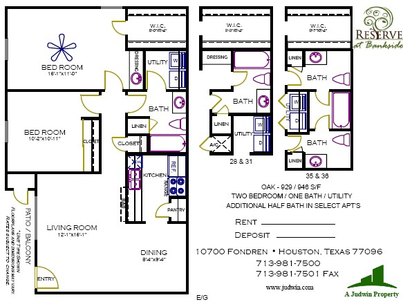 929 sq. ft. to 946 sq. ft. Oak floor plan