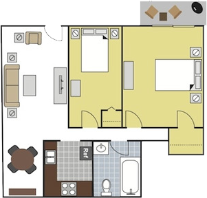 810 sq. ft. A1 floor plan