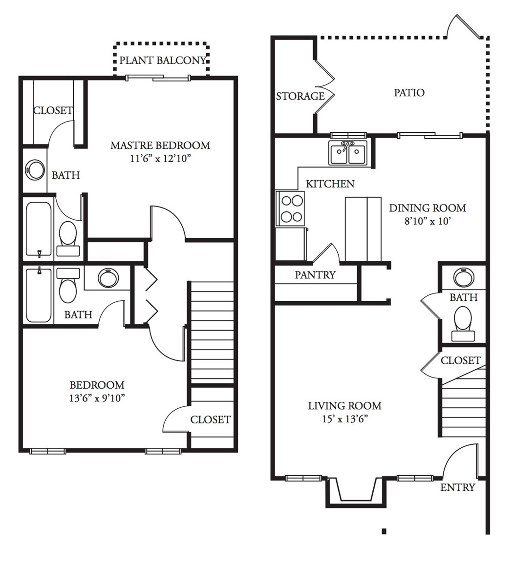 1,115 sq. ft. Merlot floor plan