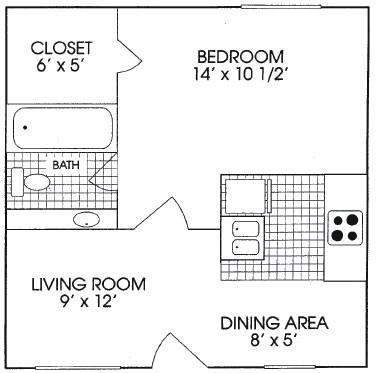 625 sq. ft. floor plan