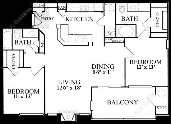 1,115 sq. ft. B3 floor plan