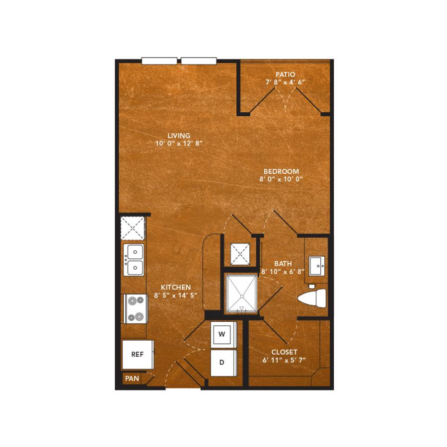 482 sq. ft. A1A floor plan
