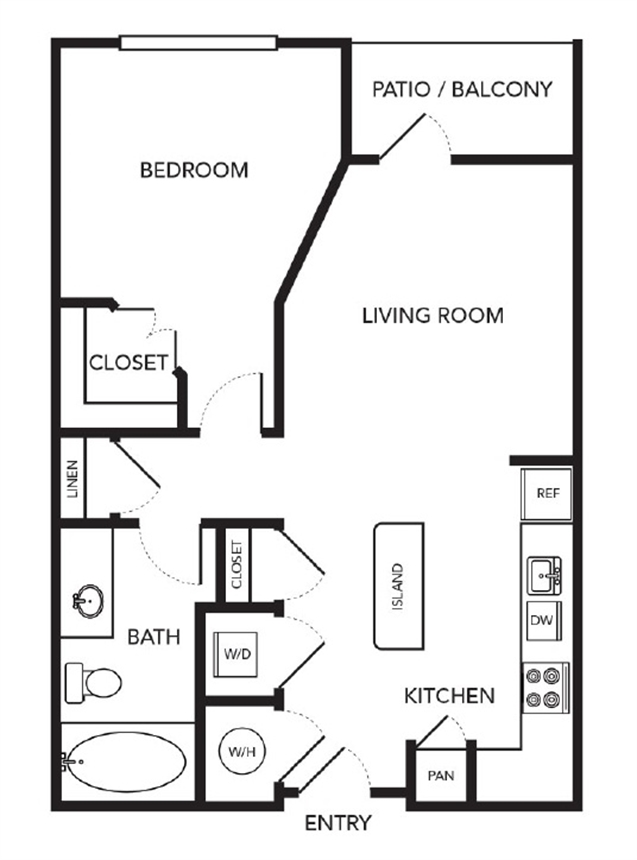 575 sq. ft. A1 floor plan