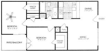 840 sq. ft. B2 floor plan
