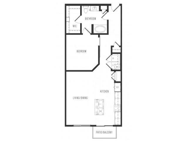 857 sq. ft. A5 floor plan