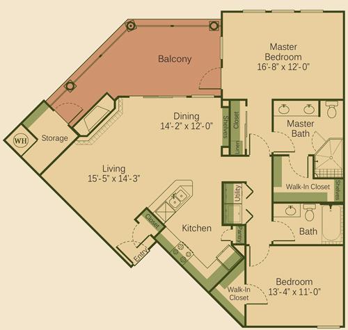 1,238 sq. ft. 2B-FP floor plan