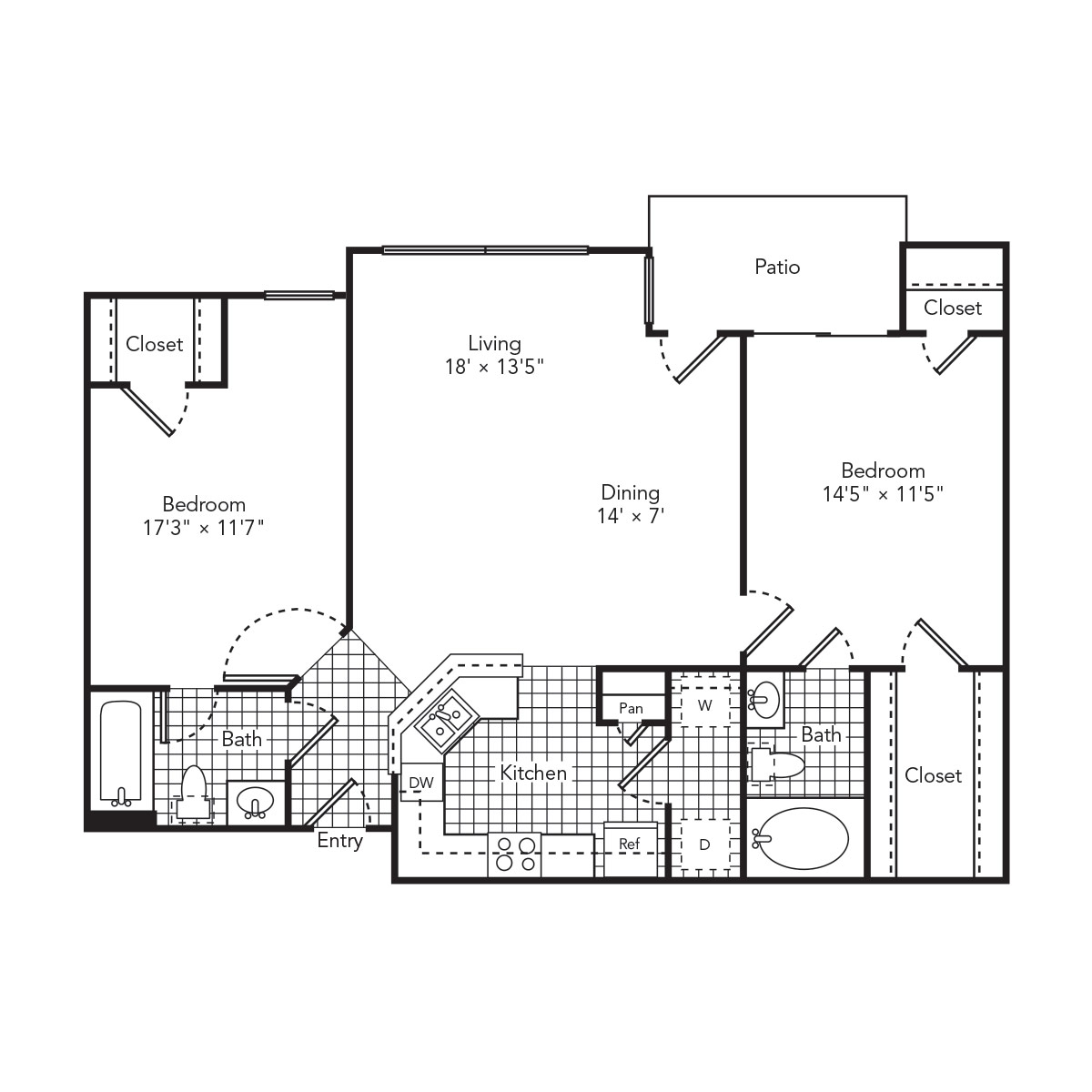 1,045 sq. ft. Pure floor plan