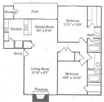 1,020 sq. ft. B2/MULBERRY floor plan