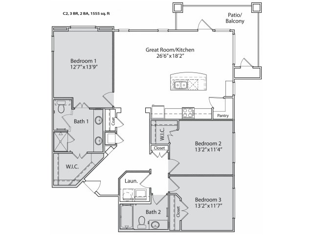 1,415 sq. ft. C2 floor plan