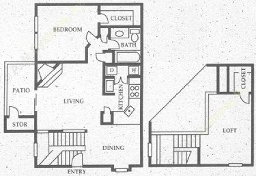 1,063 sq. ft. SB1 floor plan