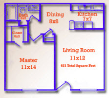 621 sq. ft. floor plan