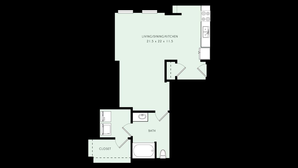 675 sq. ft. L05 MKT floor plan