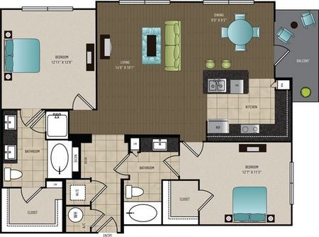 1,258 sq. ft. B2B floor plan
