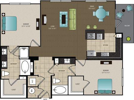 1,227 sq. ft. B2A floor plan