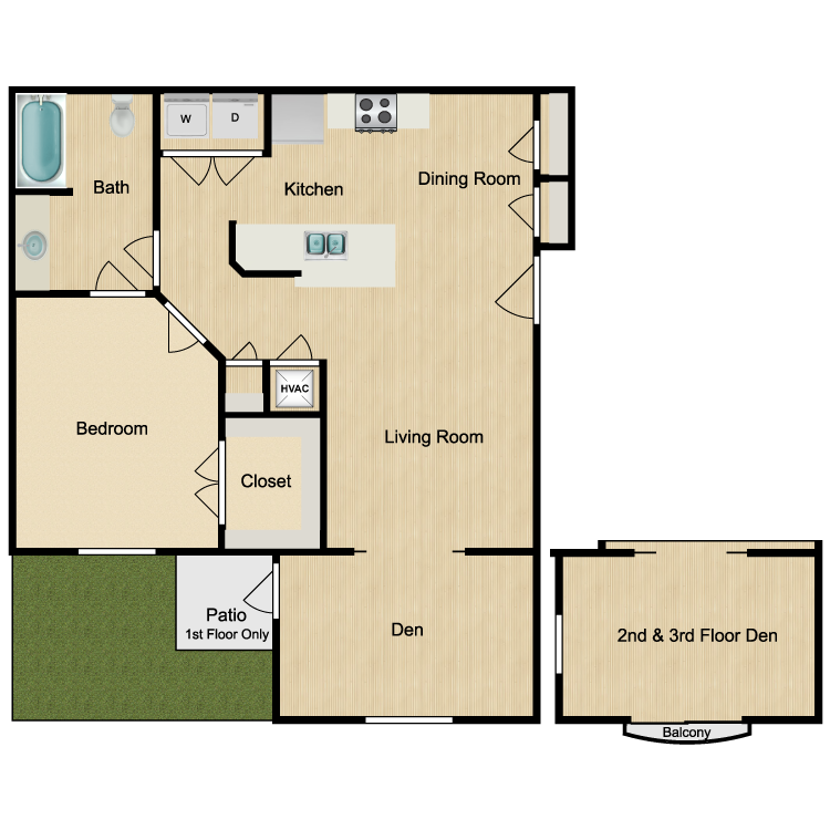 828 sq. ft. El Lago floor plan