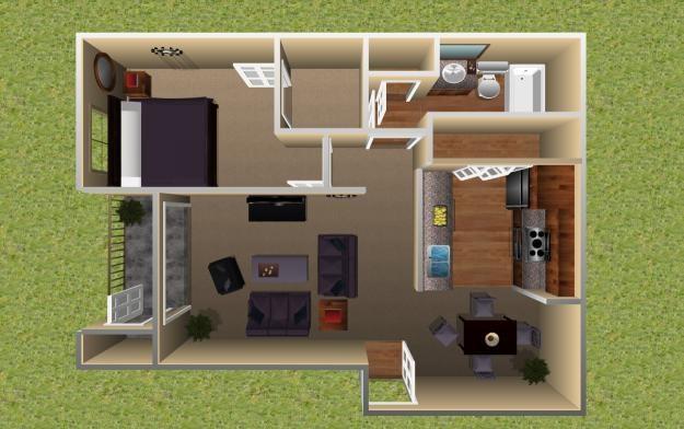 659 sq. ft. Palm floor plan