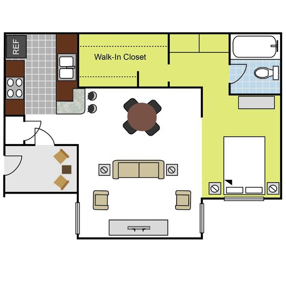 530 sq. ft. EFF1 floor plan