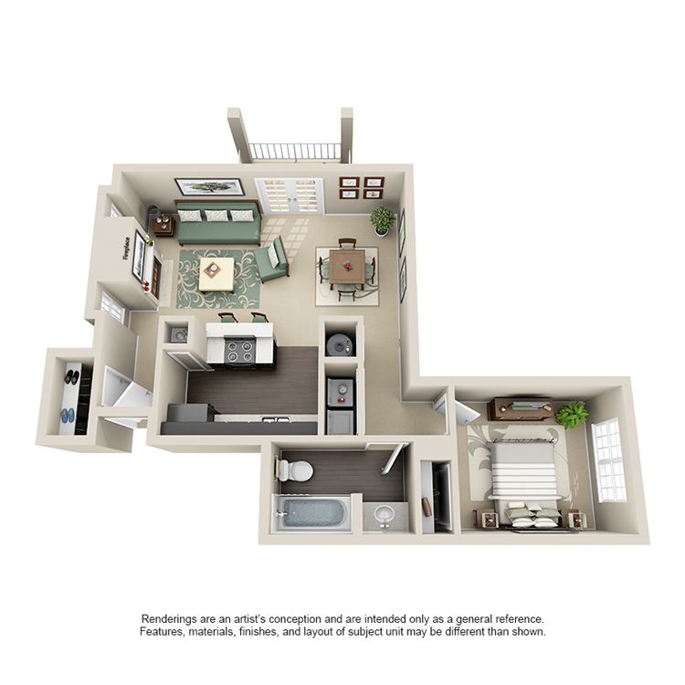 709 sq. ft. B floor plan