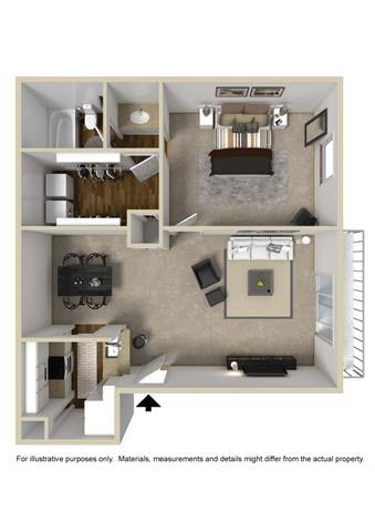 632 sq. ft. C1 floor plan