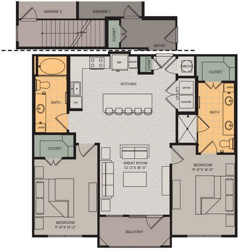 1,083 sq. ft. to 1,236 sq. ft. Vista I floor plan