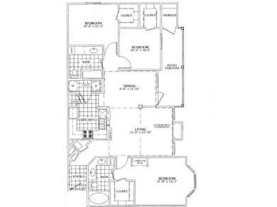 1,402 sq. ft. E floor plan