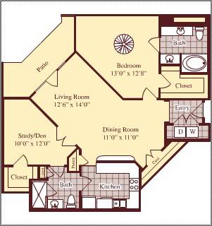 1,206 sq. ft. B6 floor plan