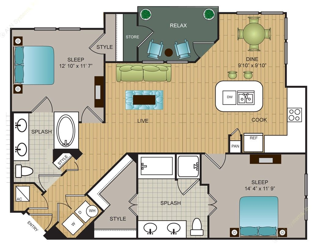 1,125 sq. ft. B3 floor plan