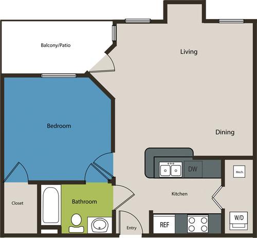 729 sq. ft. A1L floor plan