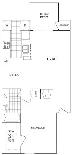 722 sq. ft. Large floor plan