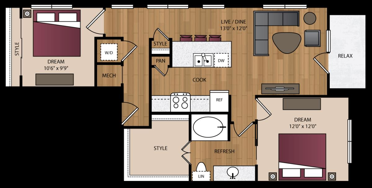 936 sq. ft. B8 floor plan