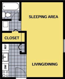 409 sq. ft. E floor plan