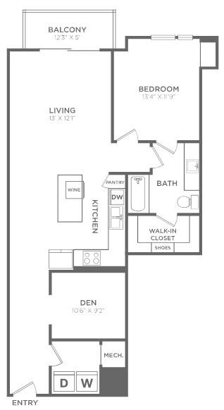 1,056 sq. ft. A4 floor plan