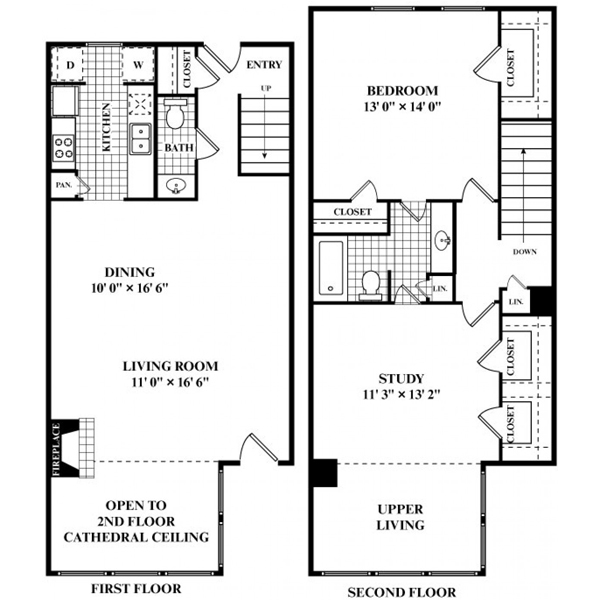 1,253 sq. ft. S1 floor plan