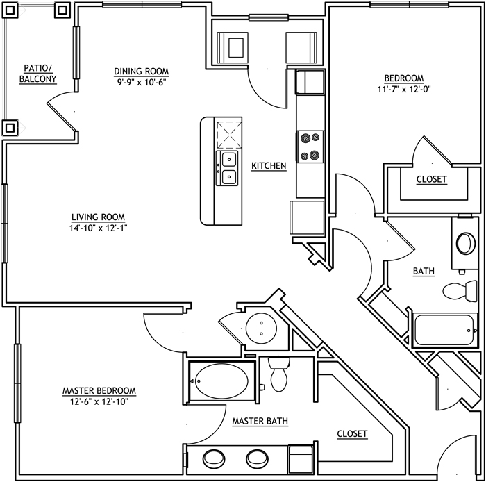 1,265 sq. ft. B3 floor plan
