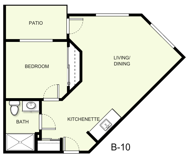 578 sq. ft. B10 floor plan