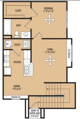 733 sq. ft. Melody floor plan