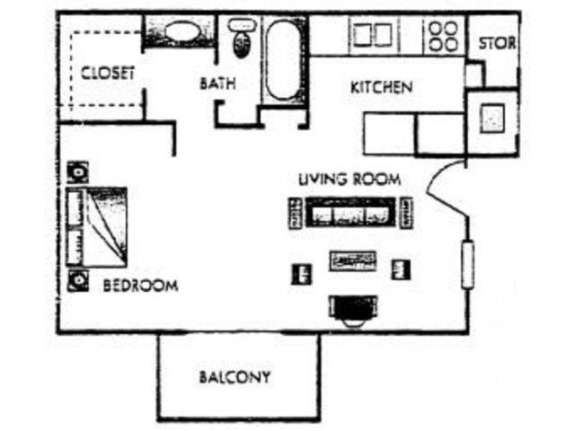 483 sq. ft. Calloway floor plan