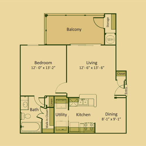 654 sq. ft. A1 floor plan