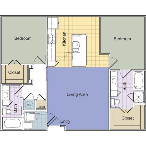 1,133 sq. ft. to 1,149 sq. ft. Gramercy (B2C) floor plan