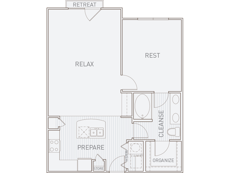 835 sq. ft. A3-J floor plan