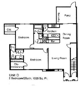 1,035 sq. ft. D floor plan