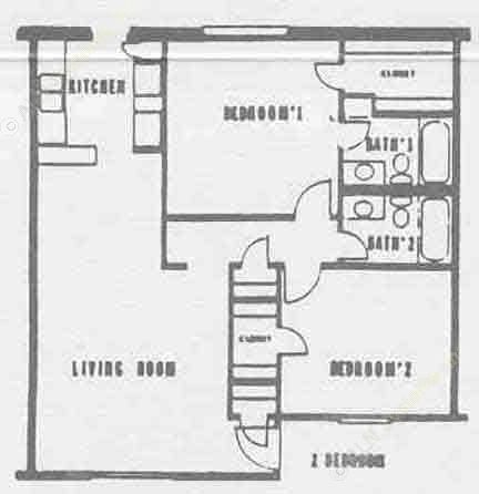 961 sq. ft. floor plan