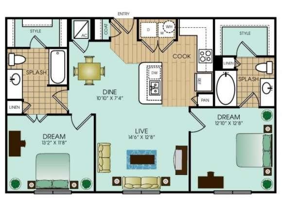 1,007 sq. ft. B2 floor plan