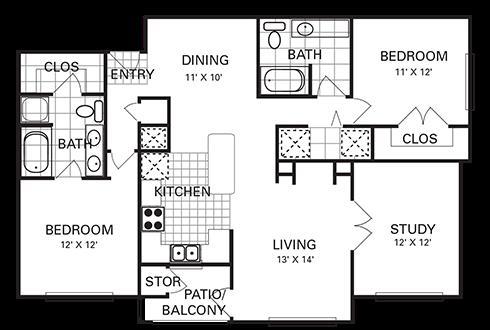 1,290 sq. ft. B3 PH I floor plan