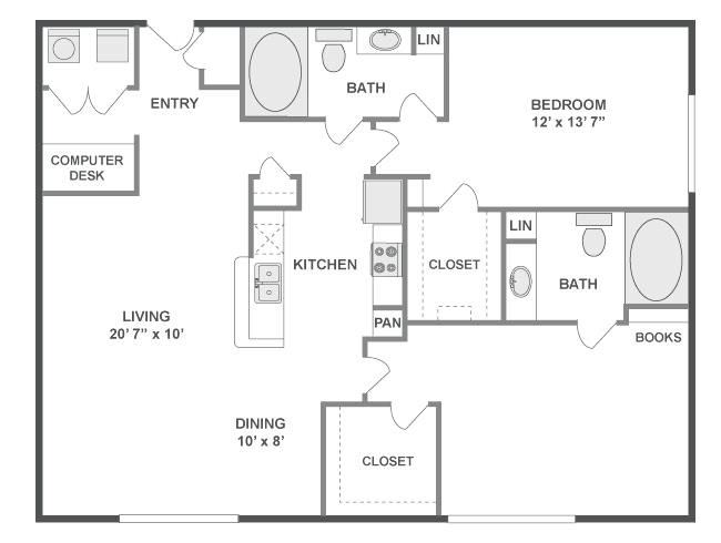 1,209 sq. ft. Melody floor plan