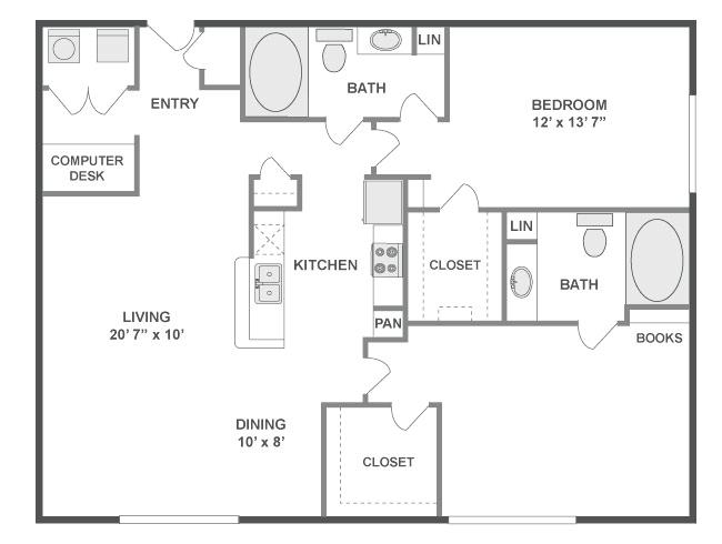 1,209 sq. ft. Melody floor plan
