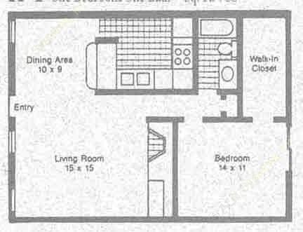 768 sq. ft. A1 floor plan