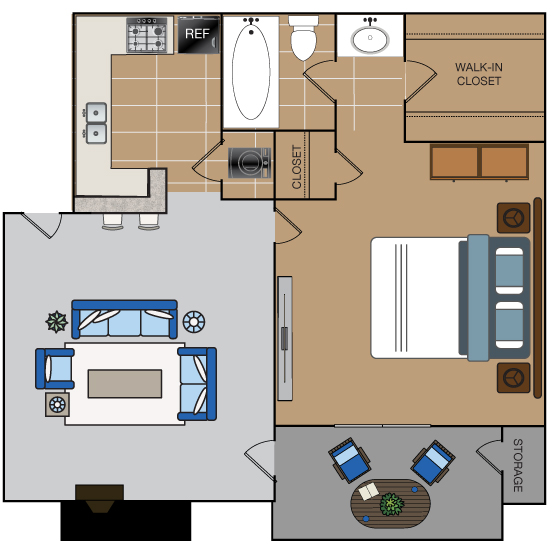 634 sq. ft. A2 floor plan