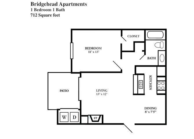 712 sq. ft. C floor plan